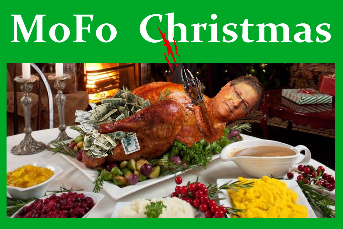 Morrison Foerster White Male in charge - Larren Nashelsky - is stuffed with Dirty Cash for Christmas Dinner