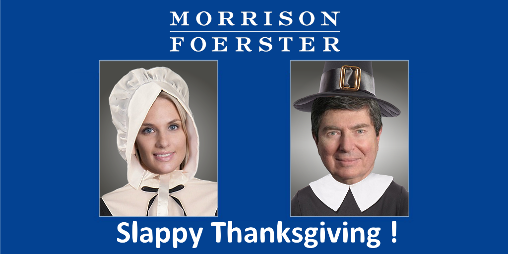 Morrison Foerster Bankruptcy lawyers Jennifer Marines and Judge James Peck dress as Pilgrims to celebrate Thanksgiving